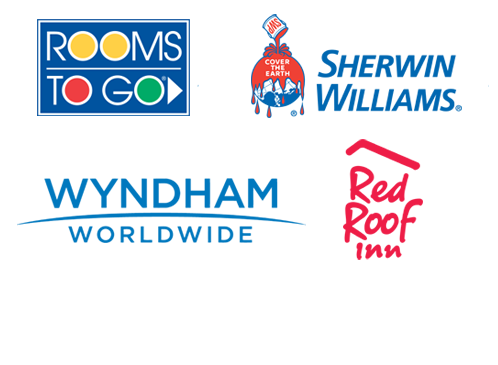 Burger King, Samsung, Wyndham Worldwide, Rooms To Go, Sherwin Williams, Red Roof Inn